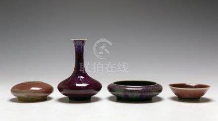 LOT OF CHINESE FLAMBE/RED GLAZED PORCELAIN