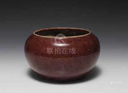 CHINESE RED GLAZED BRUSH WASHER, 18TH - 19TH CENTURY