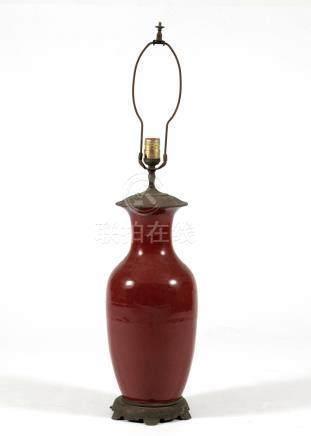 CHINESE RED GLAZED VASE TURNED LAMP, 19TH CENTURY