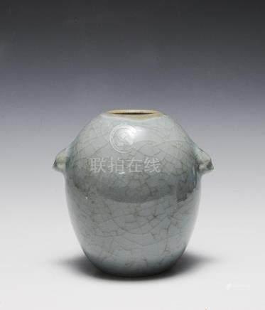 CHINESE PALE BLUE GE GLAZED VASE, 19TH CENTURY