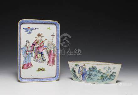 CHINESE PLANTER & TRAY WITH FIGURES, 19TH CENTURY