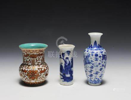 (3) PORCELAIN VASES, 19TH-EARLY 20TH CENTURY