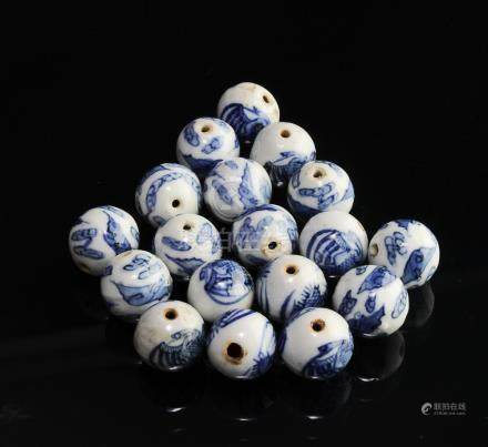 SET OF 18 BLUE & WHITE PORCELAIN BEADS, 19TH CENTURY