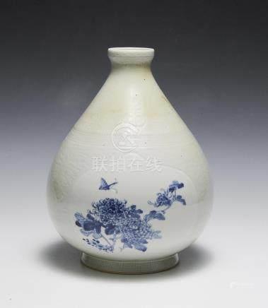 CHINESE CELADON VASE W/ BLUE & WHITE, 1960S-1970S
