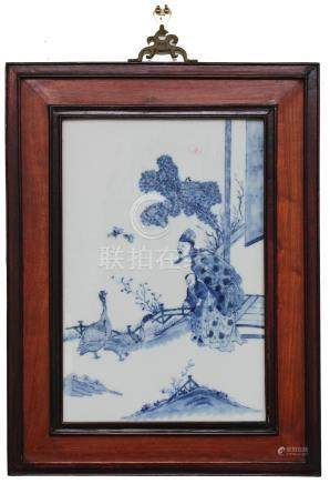 CHINESE BLUE & WHITE PLAQUE, 19TH CENTURY
