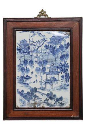 CHINESE BLUE & WHITE PLAQUE, REPUBLIC PERIOD