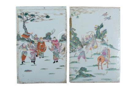 PAIR OF CHINESE MILITARY SCENE PORCELAIN PLAQUES