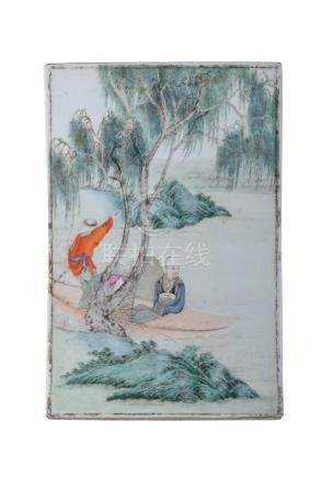 CHINESE FAMILLE ROSE PORCELAIN PLAQUE,REPUBLIC