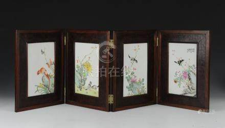CHINESE 4 PANEL PORCELAIN TABLE SCREEN, REPUBLIC
