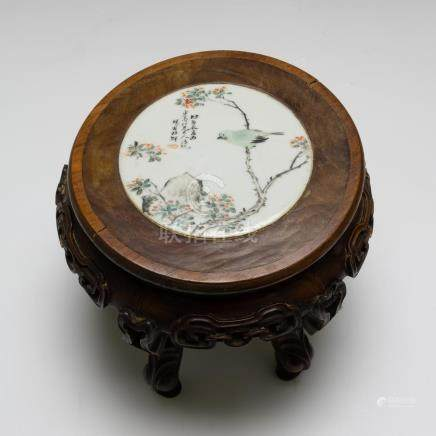 CHINESE TABLE STAND W/ PORCELAIN PLAQUE, 19TH CENTURY