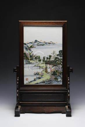 PORCELAIN PLAQUE, JU REN TANG ZHI, REPUBLIC