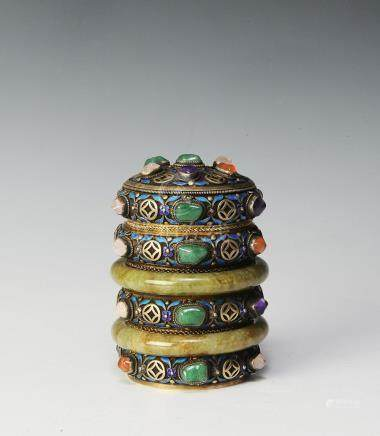CHINESE BANGLE BRACELETS LIDDED VASE