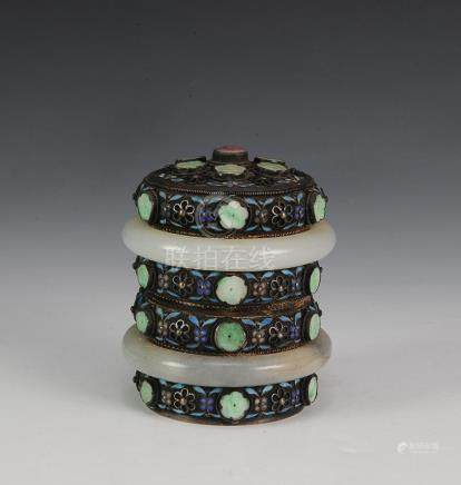 GILT SILVER BOX WITH JADE BANGLES & JADEITE DECOR
