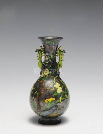 CHINESE ENAMELED SILVER VASE, 19TH CENTURY