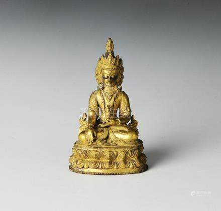 GILT BRONZE BUDDHA, YUAN DYNASTY