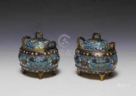 PAIR OF CHINESE CLOISONNE CENSERS, 19TH CENTURY