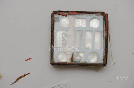 BOX OF ENGRAVED MOTHER OF PEARL PLAQUES, 19TH CENTURY