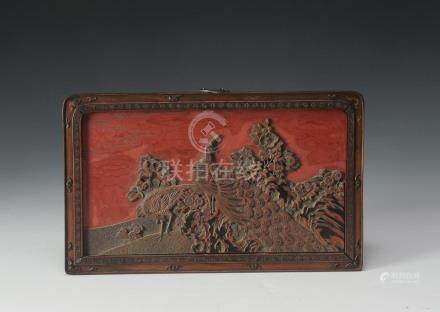 SMALL CINNABAR PANEL, 19TH CENTURY