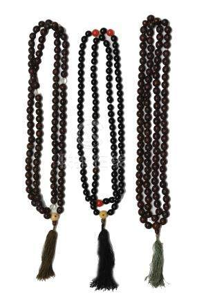 (3) STRANDS OF BUDDHA BEADS, EARLY 19TH CENTURY
