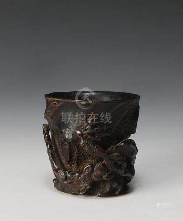 CARVED BAMBOO LIBATION CUP, 18TH CENTURY