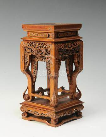 CHINESE WOOD CARVED SQUARE BASE, 19TH CENTURY