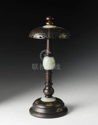CHINESE ZITAN HAT STAND WITH JADE FITTINGS, QIANLONG