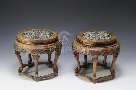 PAIR WOOD STANDS WITH CLOISONNE TOPS, 19-20TH CENTURY