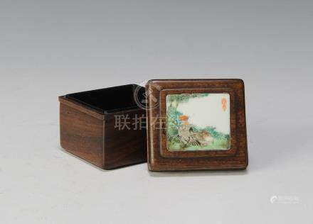 CHINESE ZITAN BOX W/ PORCELAIN PLAQUE, 19TH CENTURY