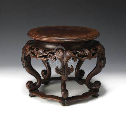 CHINESE HARDWOOD BASE WITH YING TOP, 19TH CENTURY