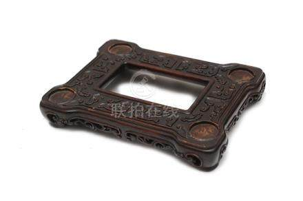 CHINESE HARDWOOD RECTANGULAR STAND, 19TH CENTURY