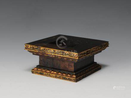 CHINESE ZITAN SQUARE BASE WITH GOLD PAINT, 18TH CENTURY