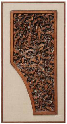 CHINESE HUANGYANG CARVED WOOD PANEL, 19TH CENTURY