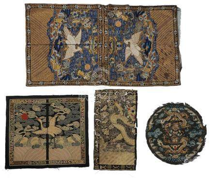(5) CHINESE SILK RANKING BADGES, 19TH CENTURY