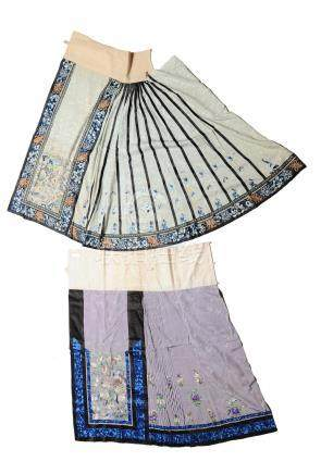 (2) EMBROIDERED CHINESE SKIRT HALVES, 19TH CENTURY
