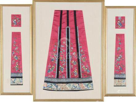 (3) CHINESE SILK EMBROIDERED SKIRT PANELS, 19TH CENTURY
