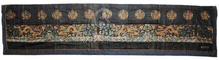 CHINESE EMBROIDERY PANEL WITH 13 DRAGONS, 19TH CENTURY