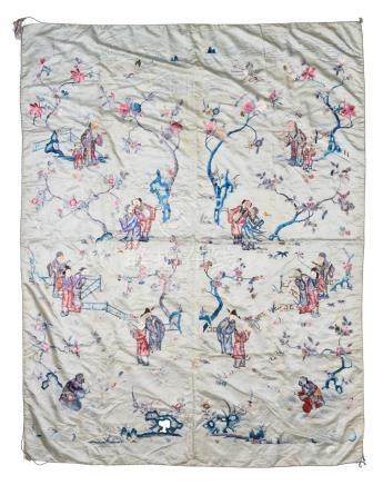 CHINESE SILK TABLECLOTH OF 8 IMMORTALS, 19TH CENTURY