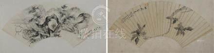 (2)裱在丝绸上的扇子画