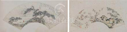 (2) FRAMED CHINESE FAN PAINTINGS