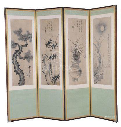 CHINESE FOUR PANEL SCREEN, 19-20TH CENTURY