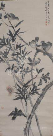 CHINESE PAINTING OF BIRDS IN TREES