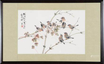 FRAMED PAINTING OF 9 BIRDS BY LIN YUSHIN