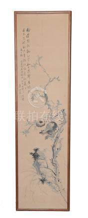 CHINESE PAINTING OF POMEGRANATES WITH CALLIGRAPHY