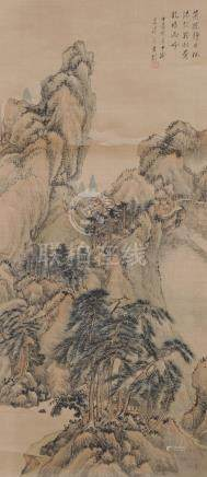 CHINESE LANDSCAPE ON SILK SCROLL, EARLY 20TH CENTURY