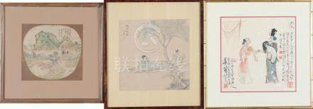(3) CHINESE PAINTINGS, FAN, LATE 19TH-20TH CENTURY