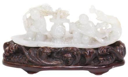清  Qing Dynasty (1644–1912)  白玉童子船連舊座