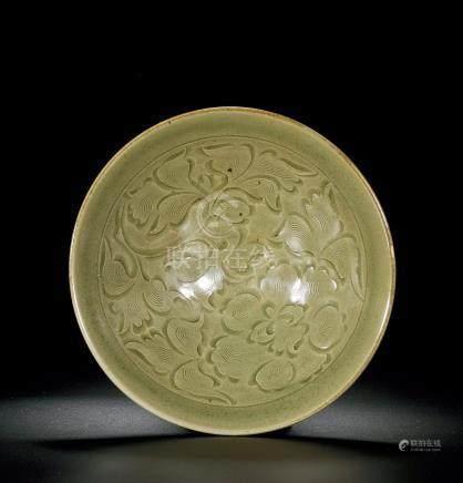 宋 耀州窰刻牡丹花紋碗