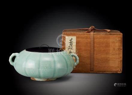 明中期 青瓷瓜形雙竹節耳罐