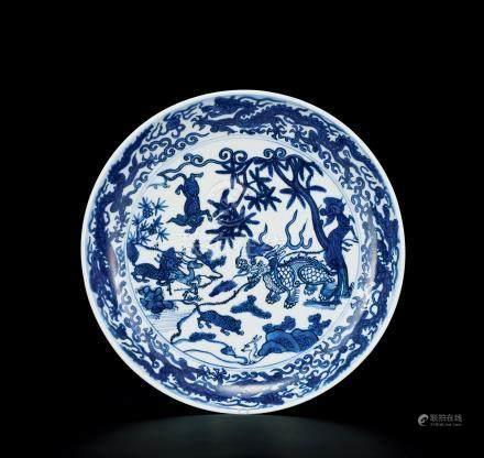 明萬曆 麒麟紋青花盤