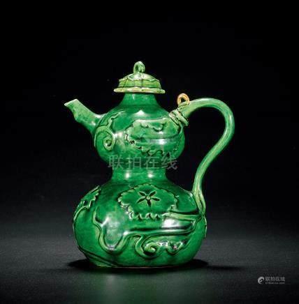 明永樂 綠釉堆花葫蘆蓋壺